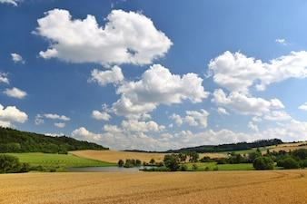 Campo com nuvens