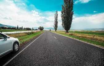 Car, passeio, estrada, ensolarado, tempo