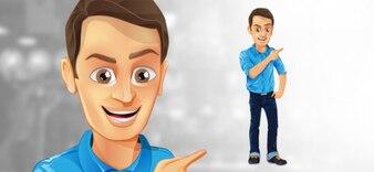 Caráter do homem com roupas azuis.