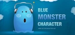 caráter monstro azul com fones de ouvido