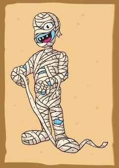 Caráter múmia egípcia em desenhos animados
