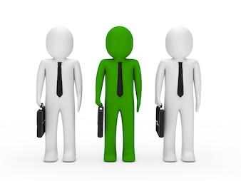 Caráter verde com dois caracteres brancos