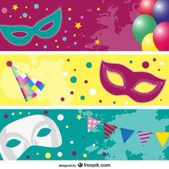 Carnaval banners máscara de vetor
