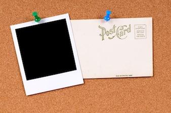 Cartão antigo post com polaroid foto