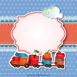 Cartão com um brinquedo trem