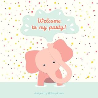 Cartão de aniversário com elefante do bebê