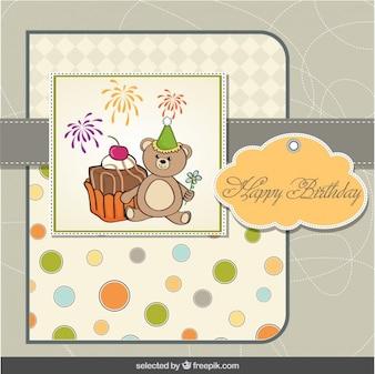 Cartão de aniversário do urso de peluche