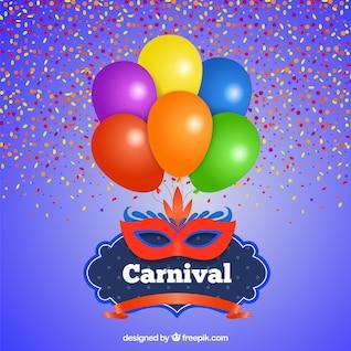 Cartão de Carnaval com balões e máscara