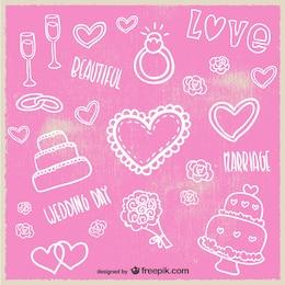 Cartão de casamento do estilo do esboço