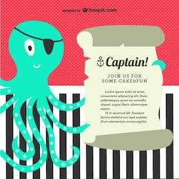Cartão de convite da festa de pirata