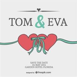 Cartão de convite de casamento corações vetor