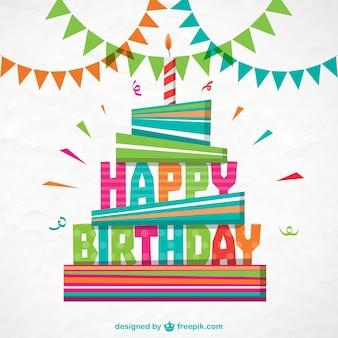 Cartão de feliz aniversário colorido