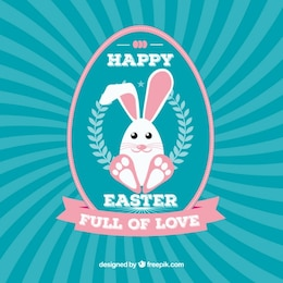 Cartão de feliz páscoa com coelho bonito