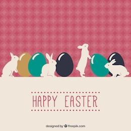 Cartão de feliz páscoa com coelhos