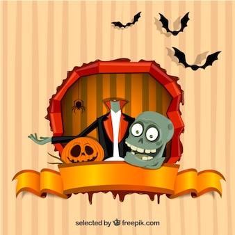 Cartão de Halloween com um monstro sem cabeça