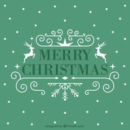 Cartão de Natal com folhas do azevinho