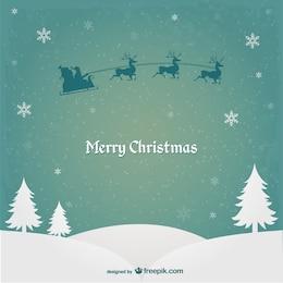 Cartão de Natal com Papai Noel e renas