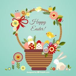Cartão de Páscoa com uma cesta bonito