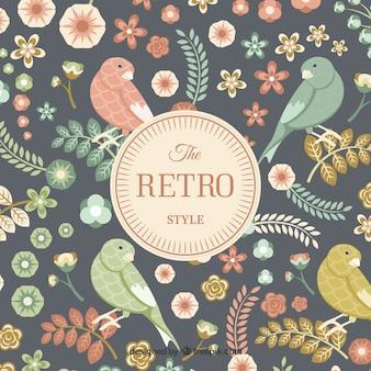 Cartão de pássaros e flores Retro