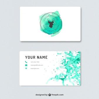 Cartão de visita com salpicos de aquarela