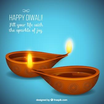 Cartão Diwali feliz com fundo azul
