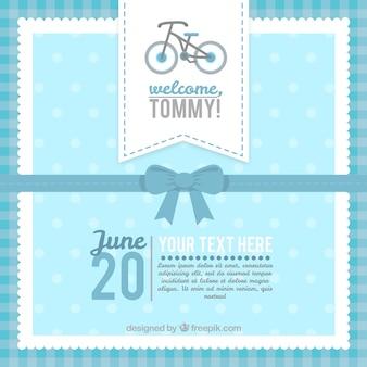 Cartão do chuveiro de bebê azul