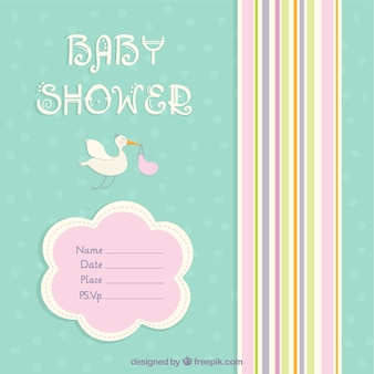 Cartão do chuveiro de bebê bonito com uma cegonha