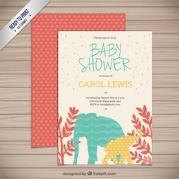 Cartão do chuveiro de bebê com animais