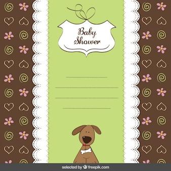Cartão do chuveiro de bebê com cão bonito