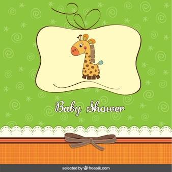 Cartão do chuveiro de bebê com girafa no estilo do scrapbook