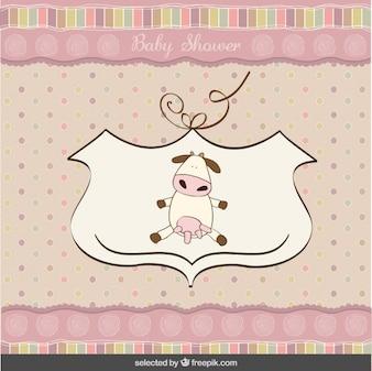 Cartão do chuveiro de bebê com uma vaca bonito