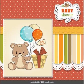 Cartão do chuveiro de bebê com urso de peluche e presentes