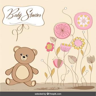 Cartão do chuveiro de bebê com urso em cores pastel
