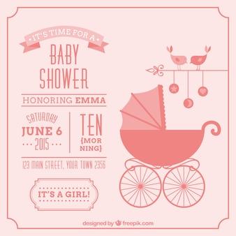 Cartão do chuveiro de bebê do vintage para menina