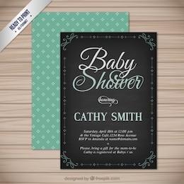Cartão do chuveiro de bebê do vintage