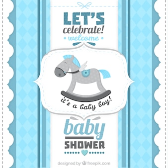 Cartão do chuveiro de bebê retro para um menino