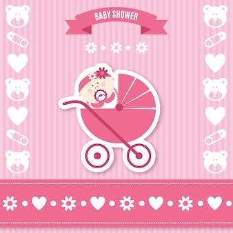 Cartão do chuveiro de bebê rosa