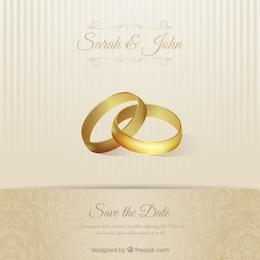 Cartão do convite do casamento com anéis