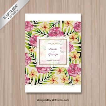 Cartão do convite do casamento com flores