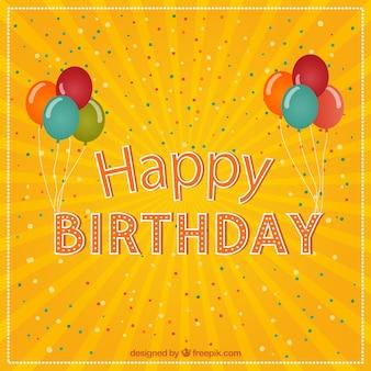 Cartão do feliz aniversario com balões e confetes
