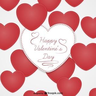 Cartão dos namorados com corações têxteis