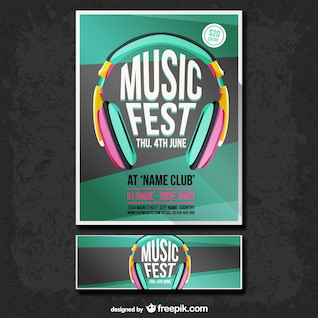 Cartaz fest música e banner set