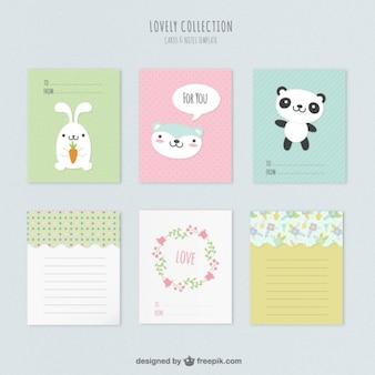 Cartões animais coloridos