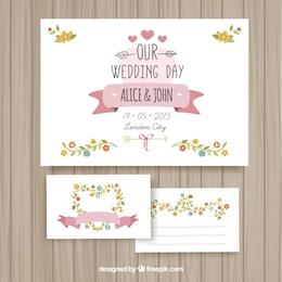 Cartões bonitos do casamento