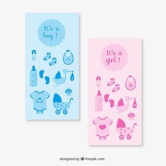Cartões-de-rosa e azuis do chuveiro do bebê