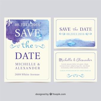 Cartões do convite do casamento da aguarela