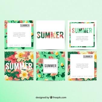 Cartões florais de verão