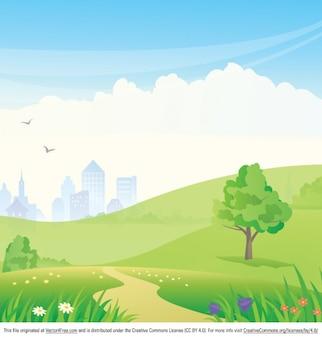 Desenhos animados parque paisagem de fundo