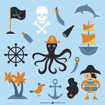 Caricatura elementos piratas coleção