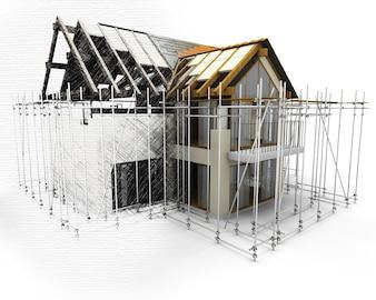 Casa 3D com andaime com metade em fase de esboço